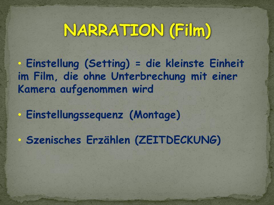 NARRATION (Film) Einstellung (Setting) = die kleinste Einheit im Film, die ohne Unterbrechung mit einer Kamera aufgenommen wird.