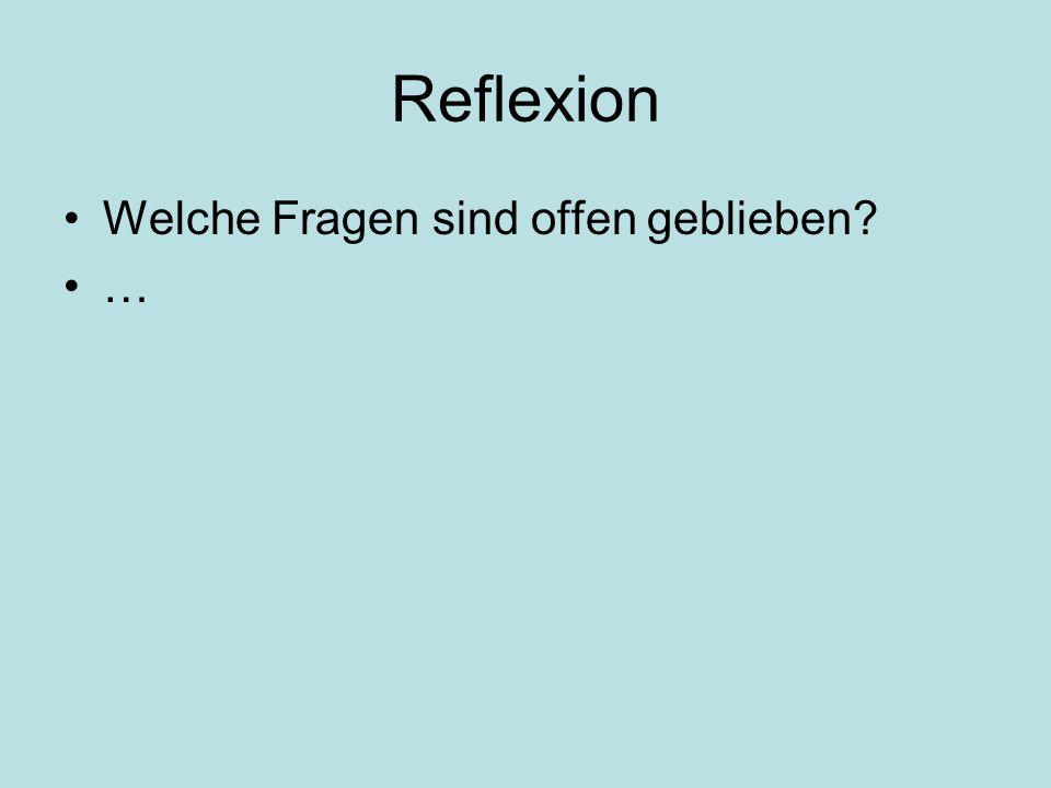 Reflexion Welche Fragen sind offen geblieben …