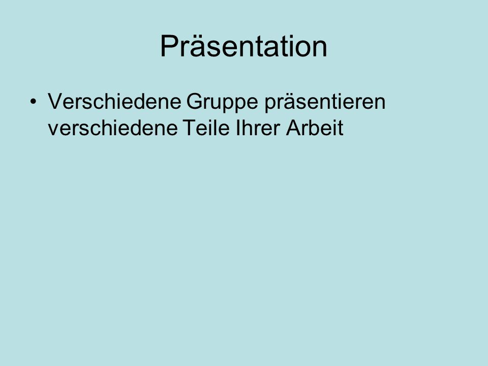 Präsentation Verschiedene Gruppe präsentieren verschiedene Teile Ihrer Arbeit