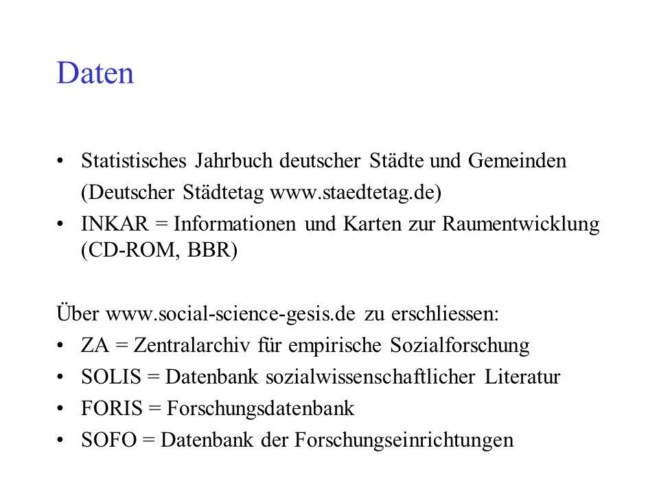 Daten Statistisches Jahrbuch deutscher Städte und Gemeinden