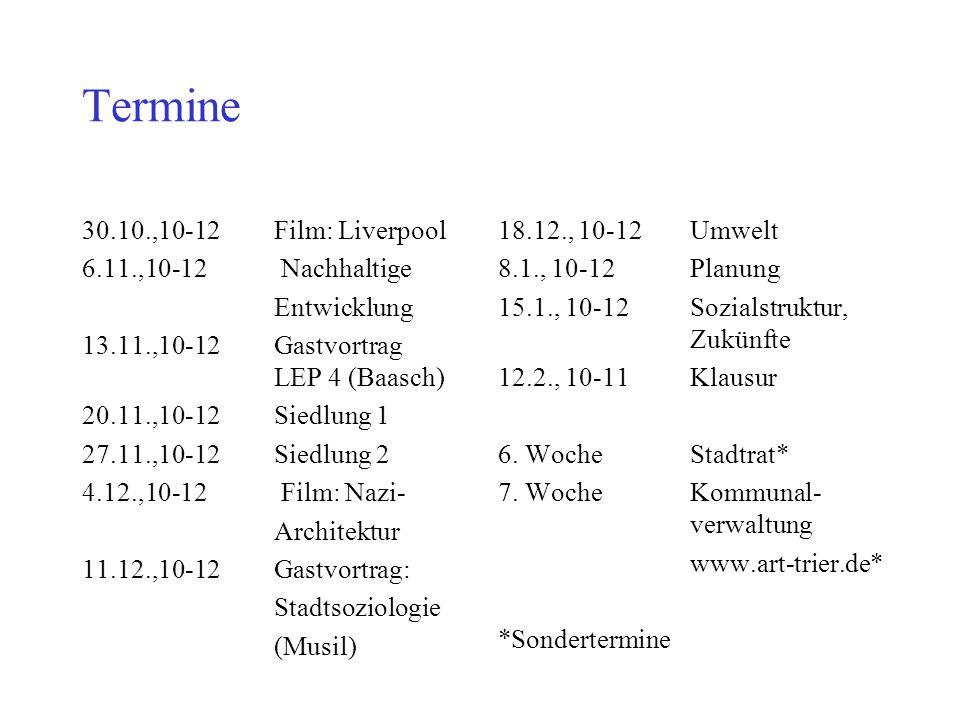 Termine 30.10.,10-12 Film: Liverpool 6.11.,10-12 Nachhaltige