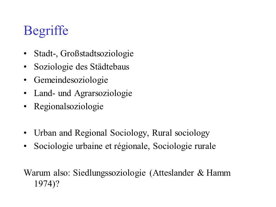 Begriffe Stadt-, Großstadtsoziologie Soziologie des Städtebaus