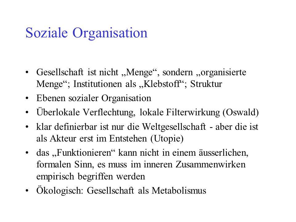 """Soziale Organisation Gesellschaft ist nicht """"Menge , sondern """"organisierte Menge ; Institutionen als """"Klebstoff ; Struktur."""