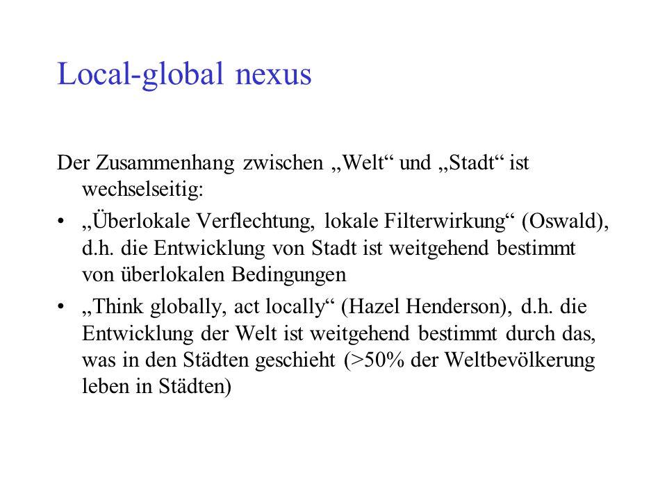 """Local-global nexus Der Zusammenhang zwischen """"Welt und """"Stadt ist wechselseitig:"""