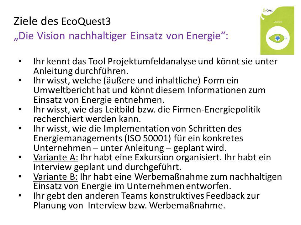 """Ziele des EcoQuest3 """"Die Vision nachhaltiger Einsatz von Energie :"""
