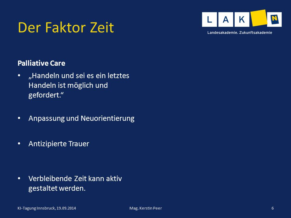 Der Faktor Zeit Palliative Care