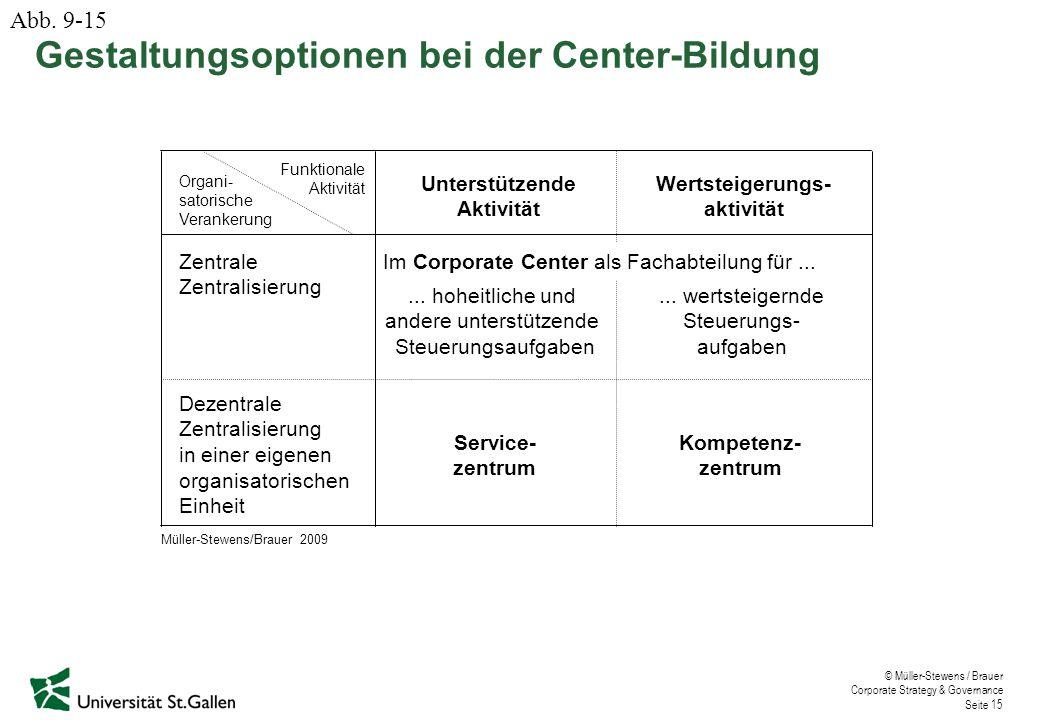 Gestaltungsoptionen bei der Center-Bildung