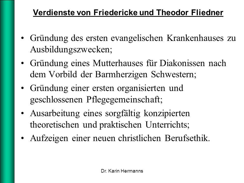 Verdienste von Friedericke und Theodor Fliedner