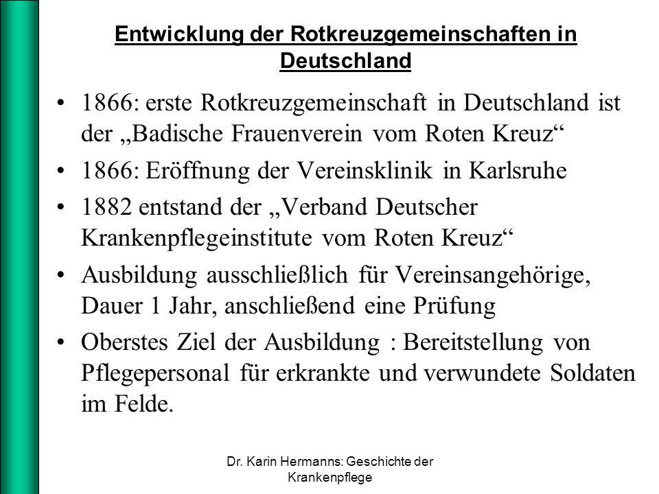 Entwicklung der Rotkreuzgemeinschaften in Deutschland