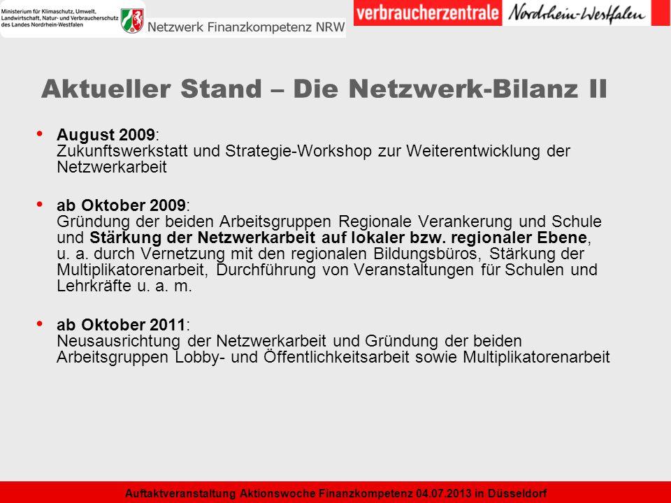 Aktueller Stand – Die Netzwerk-Bilanz II