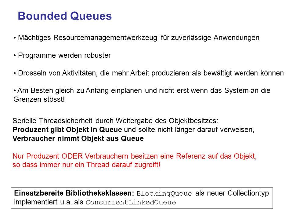 Bounded Queues Mächtiges Resourcemanagementwerkzeug für zuverlässige Anwendungen. Programme werden robuster.