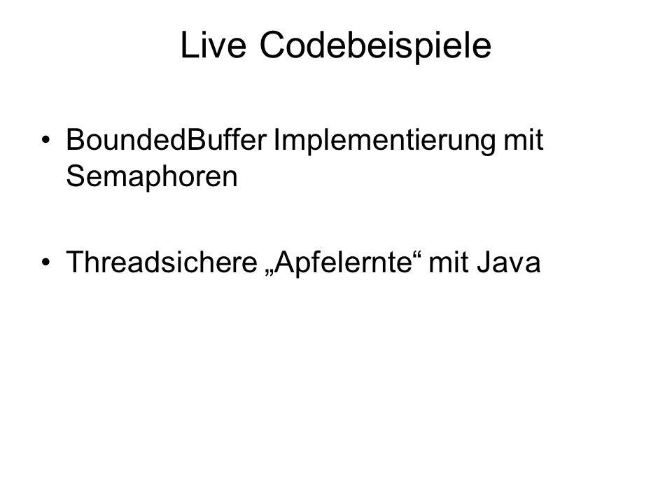 Live Codebeispiele BoundedBuffer Implementierung mit Semaphoren