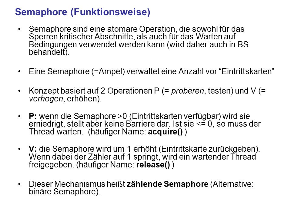 Semaphore (Funktionsweise)