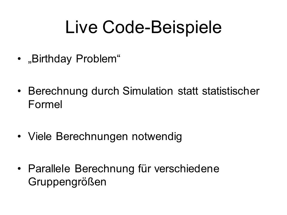 "Live Code-Beispiele ""Birthday Problem"