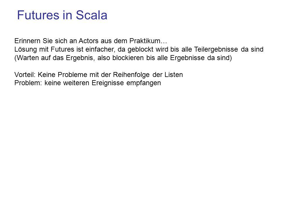Futures in Scala Erinnern Sie sich an Actors aus dem Praktikum…