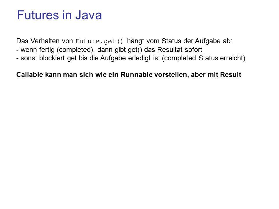 Futures in Java Das Verhalten von Future.get() hängt vom Status der Aufgabe ab: