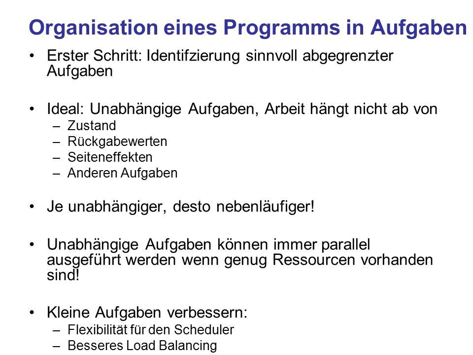 Organisation eines Programms in Aufgaben