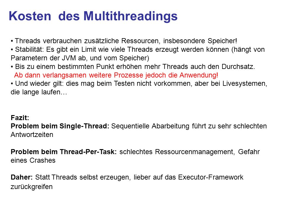 Kosten des Multithreadings