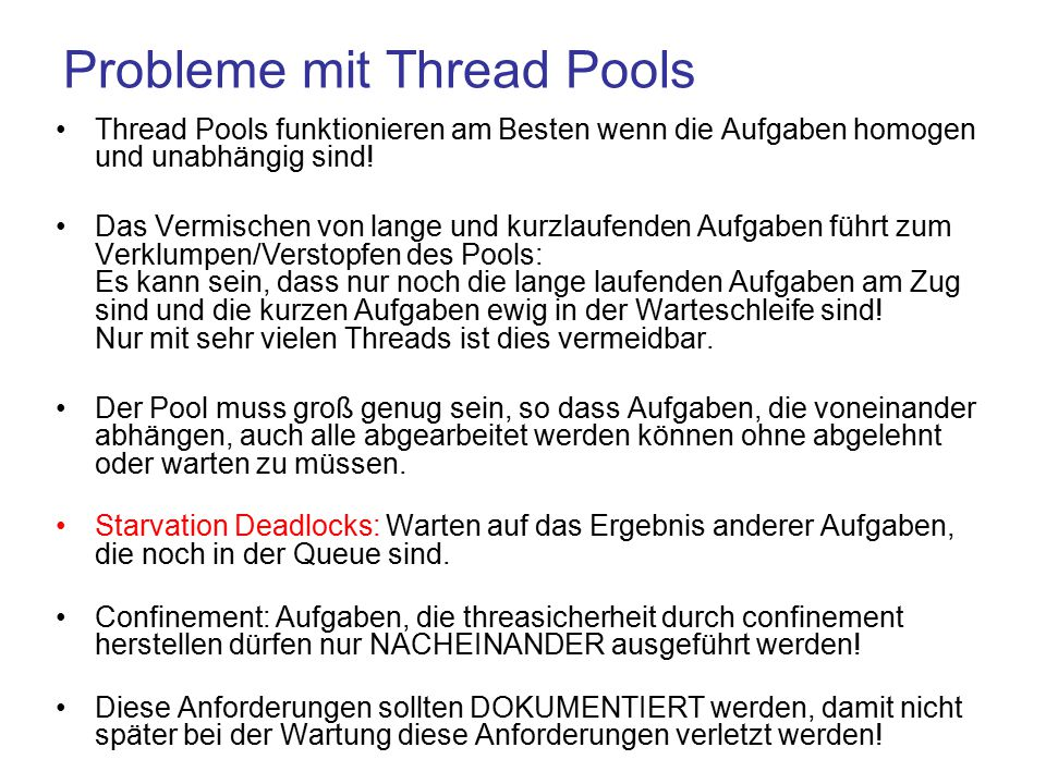 Probleme mit Thread Pools