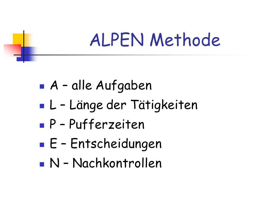 ALPEN Methode A – alle Aufgaben L – Länge der Tätigkeiten