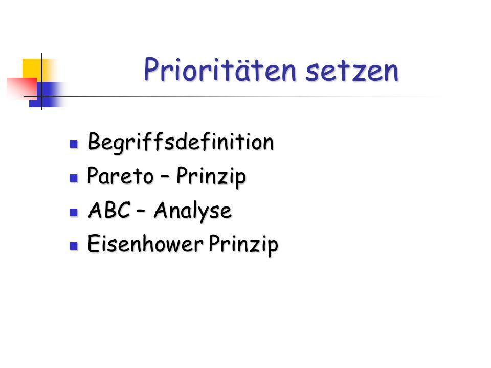 Prioritäten setzen Begriffsdefinition Pareto – Prinzip ABC – Analyse