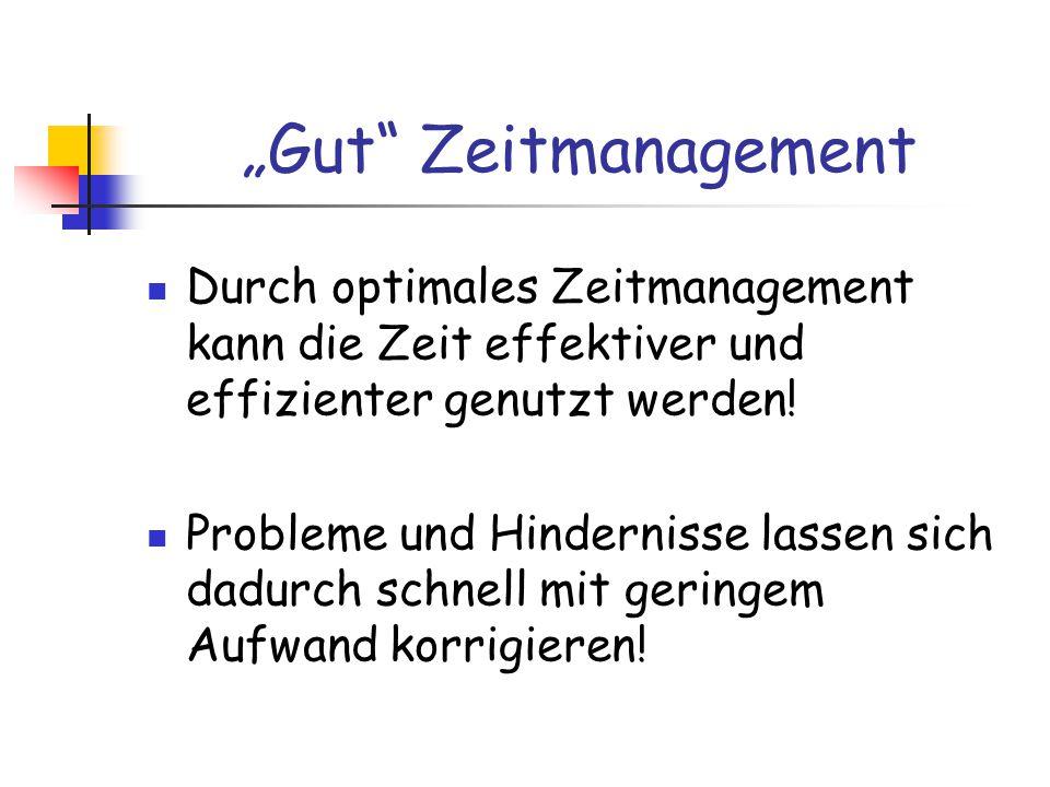 """""""Gut Zeitmanagement Durch optimales Zeitmanagement kann die Zeit effektiver und effizienter genutzt werden!"""