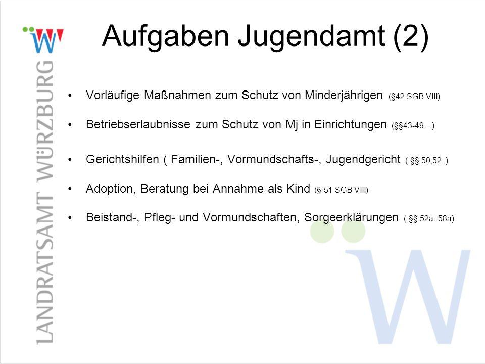 Aufgaben Jugendamt (2) Vorläufige Maßnahmen zum Schutz von Minderjährigen (§42 SGB VIII)