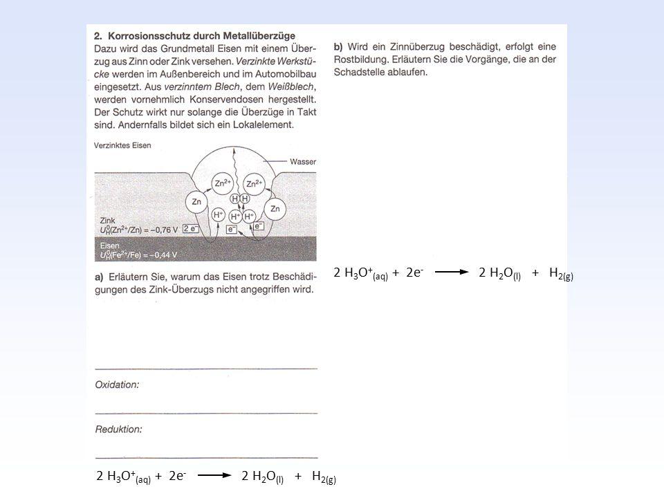 2 H3O+(aq) + 2e- 2 H2O(l) + H2(g)