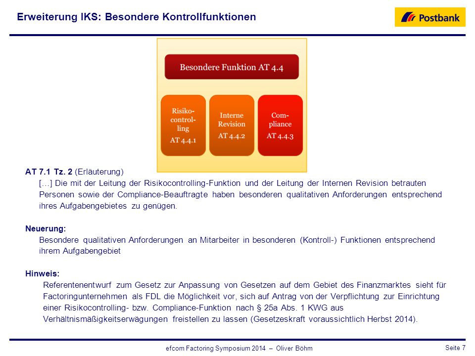 Erweiterung IKS: Besondere Kontrollfunktionen