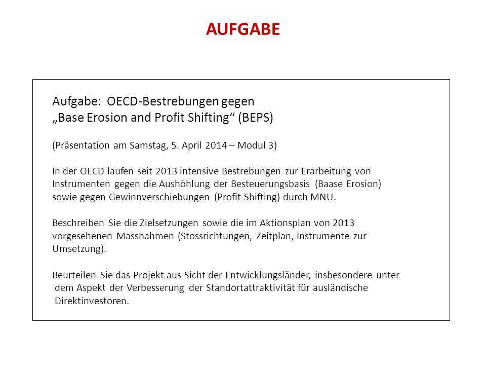 AUFGABE Aufgabe: OECD-Bestrebungen gegen