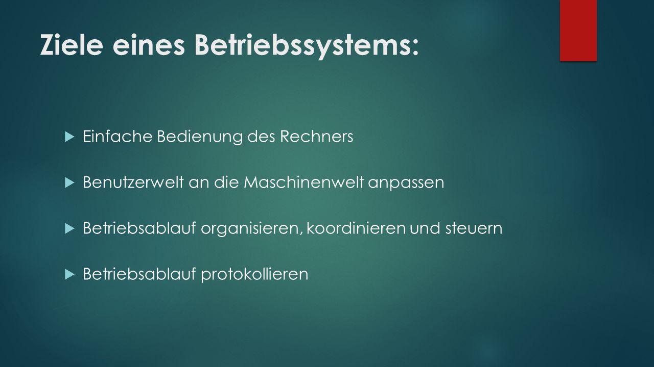 Ziele eines Betriebssystems: