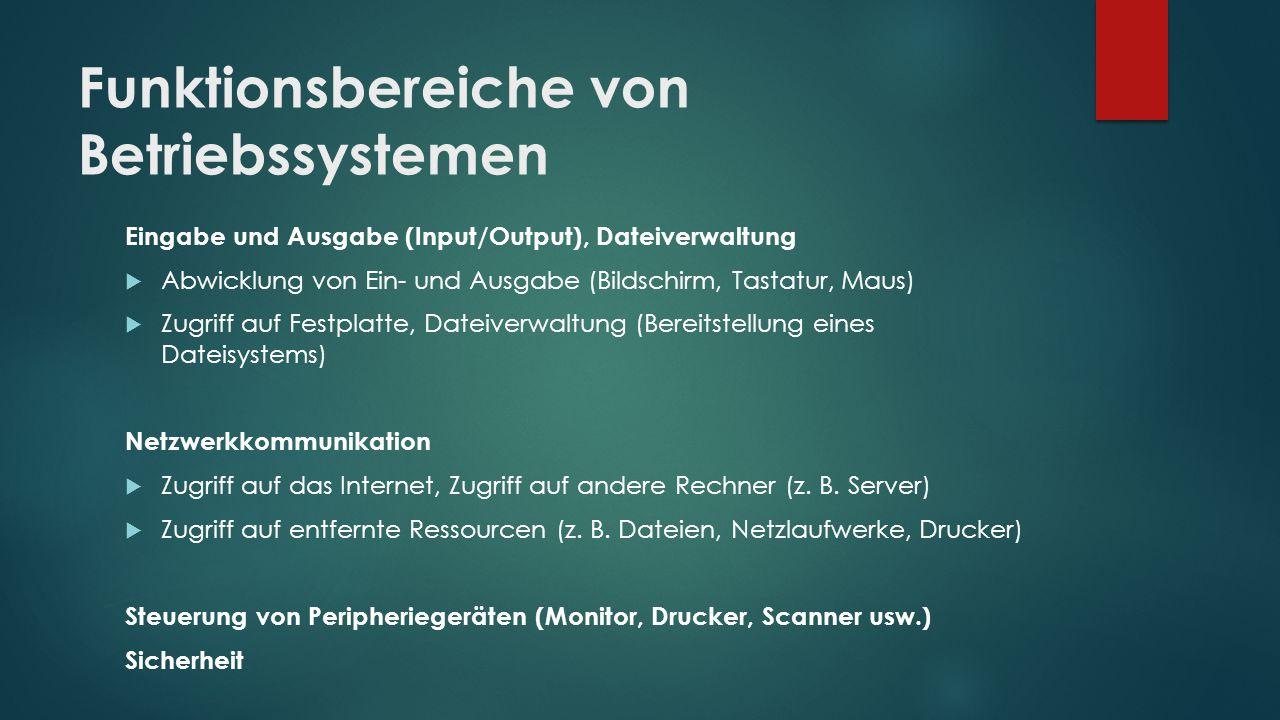 Funktionsbereiche von Betriebssystemen