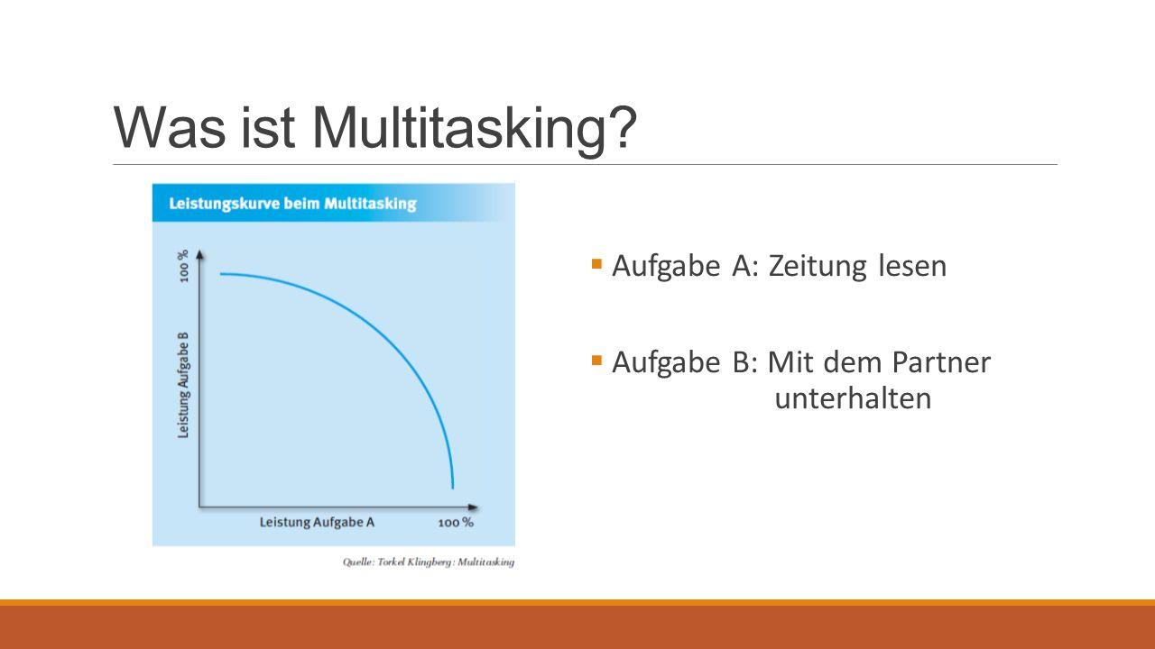 Was ist Multitasking Aufgabe A: Zeitung lesen