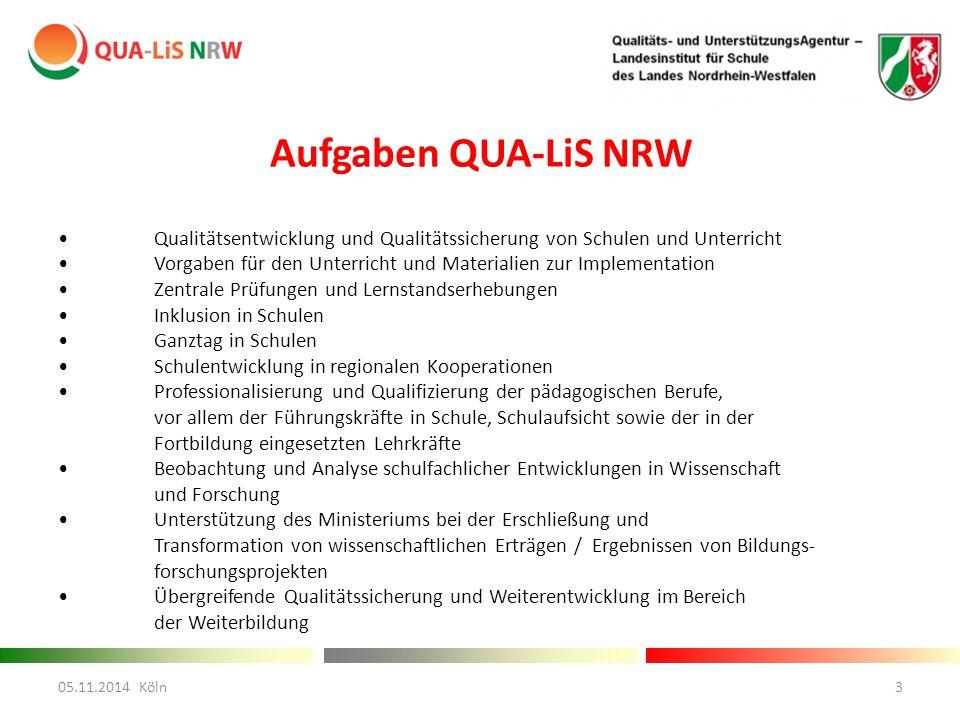 Aufgaben QUA-LiS NRW • Qualitätsentwicklung und Qualitätssicherung von Schulen und Unterricht.