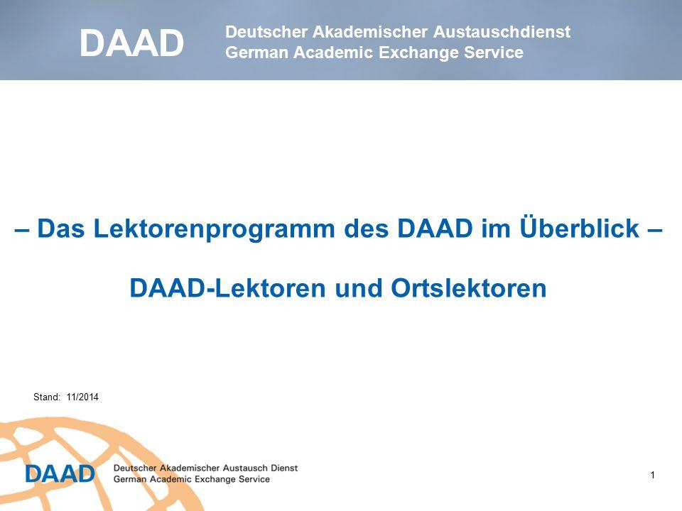 DAAD – Das Lektorenprogramm des DAAD im Überblick –