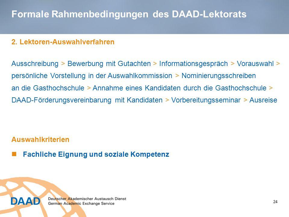Formale Rahmenbedingungen des DAAD-Lektorats
