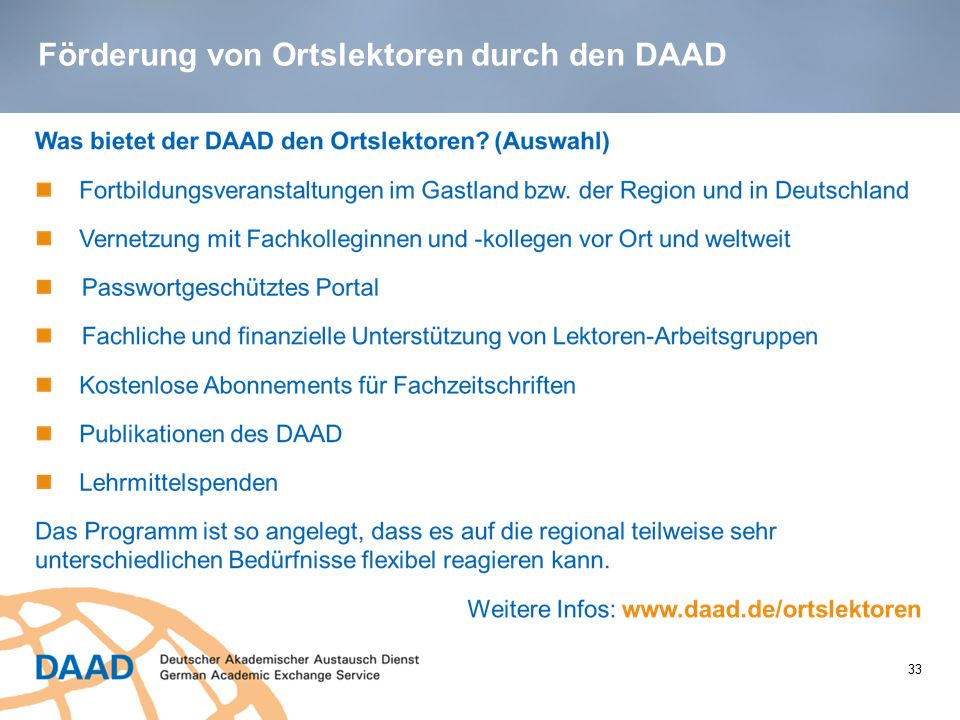 Förderung von Ortslektoren durch den DAAD