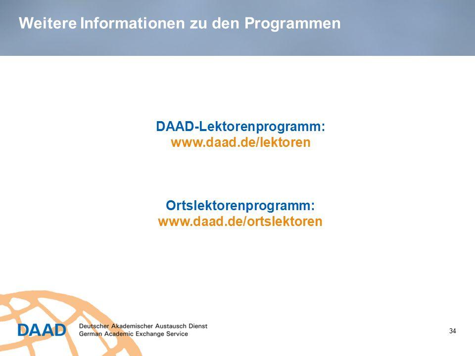 Weitere Informationen zu den Programmen