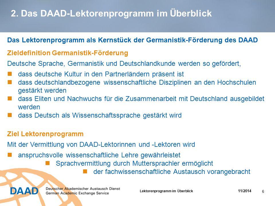 2. Das DAAD-Lektorenprogramm im Überblick