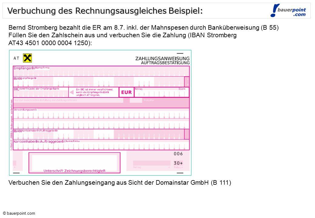 Verbuchung des Rechnungsausgleiches Beispiel: