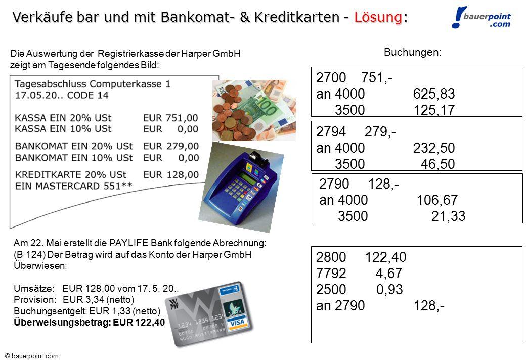 Verkäufe bar und mit Bankomat- & Kreditkarten - Lösung:
