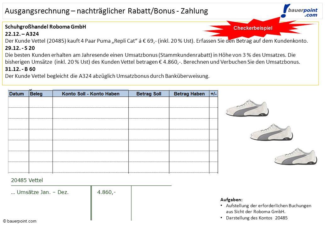 Ausgangsrechnung – nachträglicher Rabatt/Bonus - Zahlung