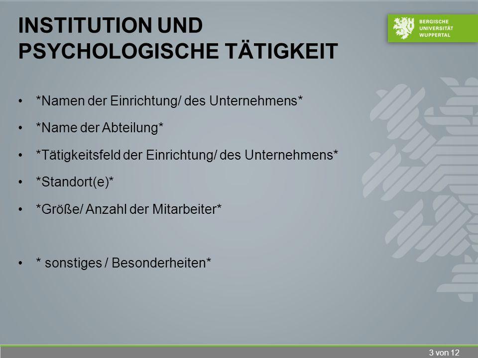 Institution und psychologische Tätigkeit