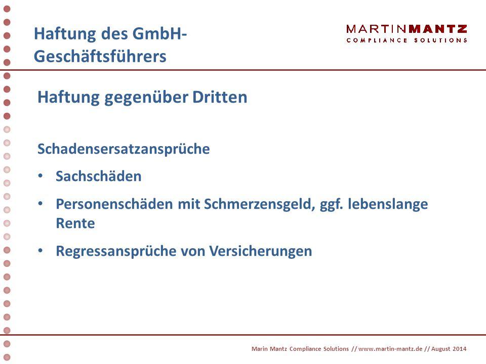 HAFTUNG DES GMBH-GESCHÄFTSFÜHRERs