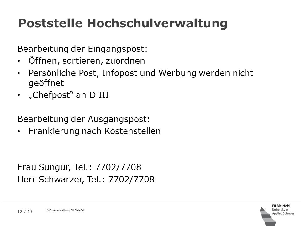 Poststelle Hochschulverwaltung
