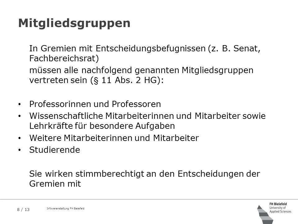 Mitgliedsgruppen In Gremien mit Entscheidungsbefugnissen (z. B. Senat, Fachbereichsrat)