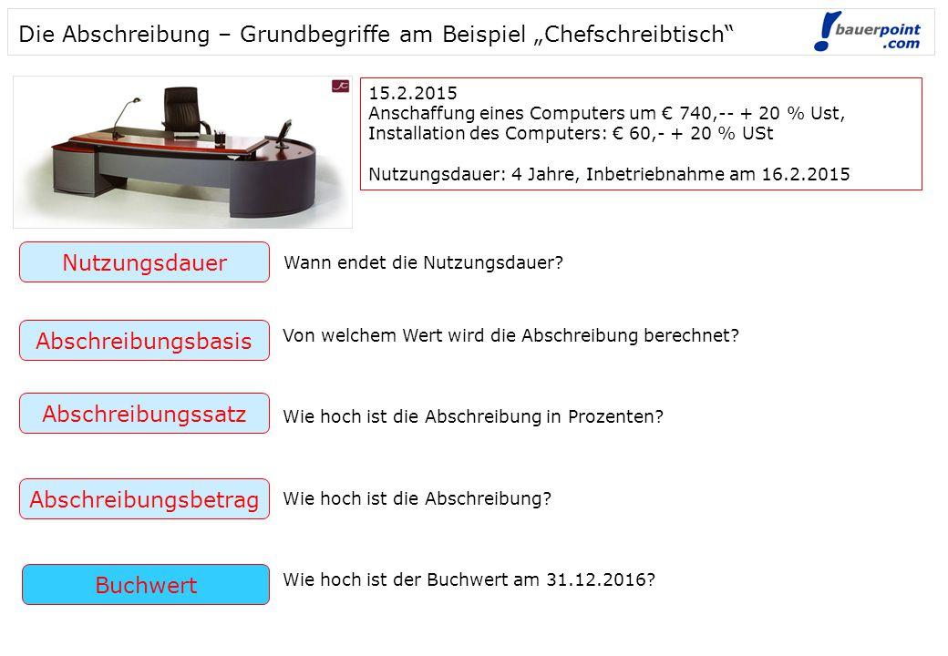 """Die Abschreibung – Grundbegriffe am Beispiel """"Chefschreibtisch"""