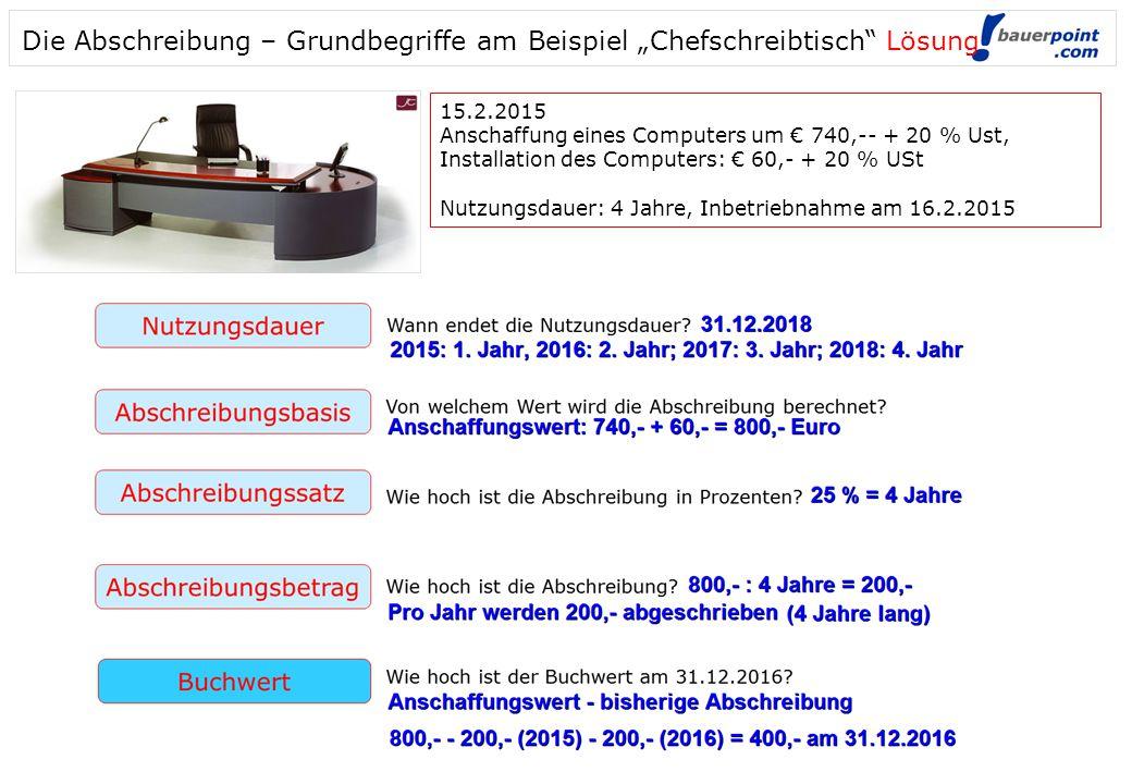 """Die Abschreibung – Grundbegriffe am Beispiel """"Chefschreibtisch Lösung"""