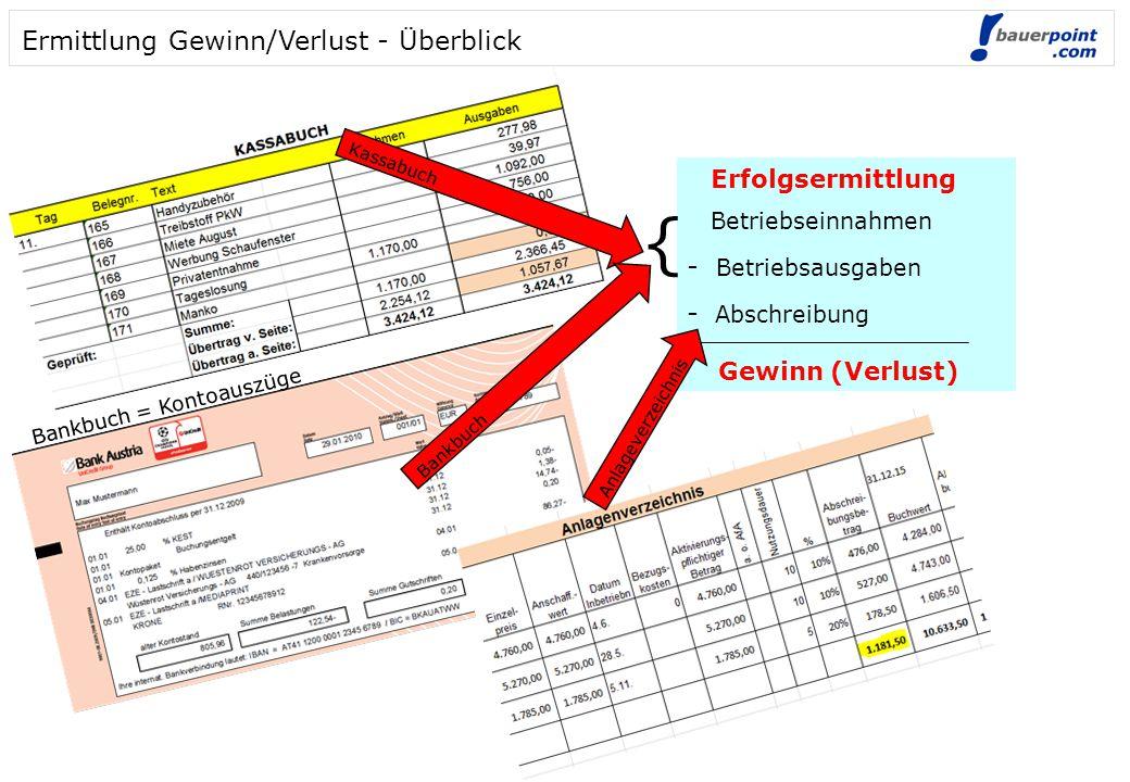 { Ermittlung Gewinn/Verlust - Überblick - Betriebsausgaben