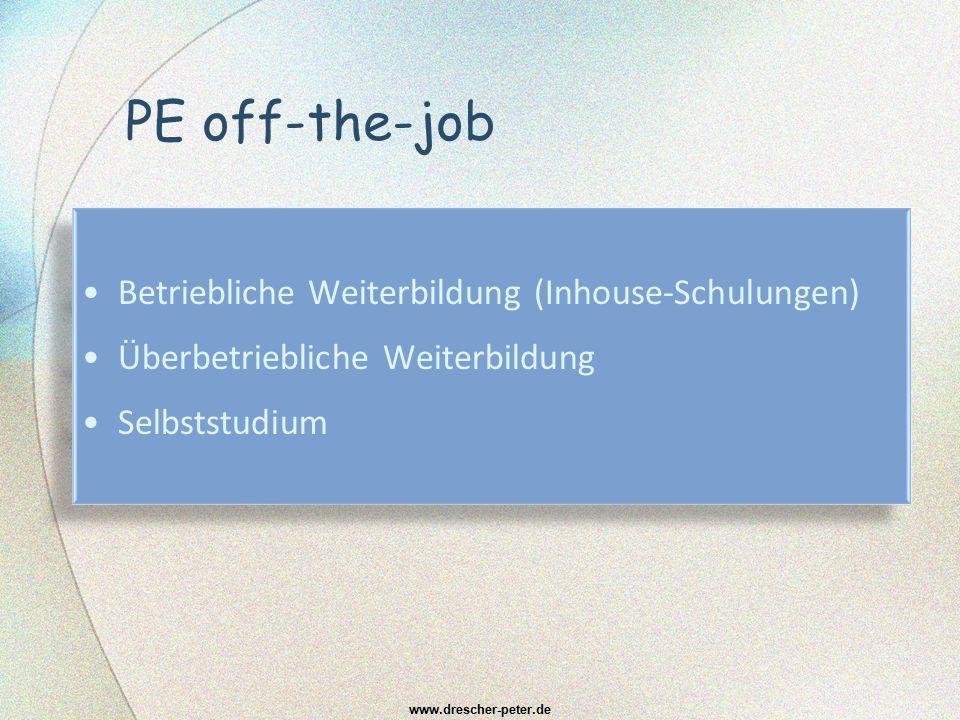 PE off-the-job Betriebliche Weiterbildung (Inhouse-Schulungen)